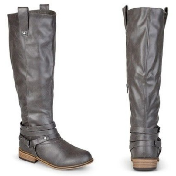 c0c8d9dd9f6a Journee Collection Shoes - Womens Wide Calf Knee High Riding Boots Gray